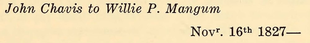 Chavis, John, November 16, 1827 Letter to Willie P. Magnum Title Page.jpg