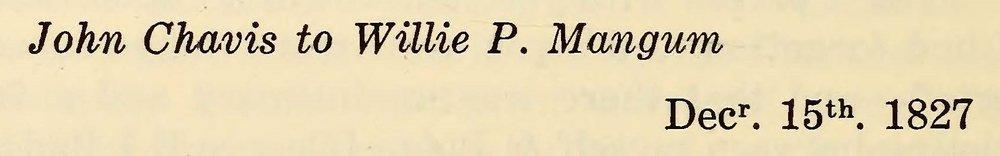 Chavis, John, December 15, 1827 Letter to Willie P. Mangum Title Page.jpg