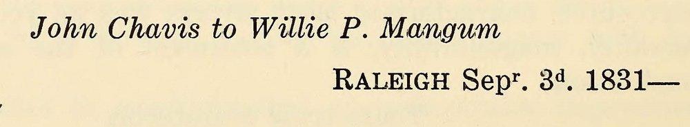 Chavis, John, September 3, 1831 Letter to Willie P. Mangum Title Page.jpg