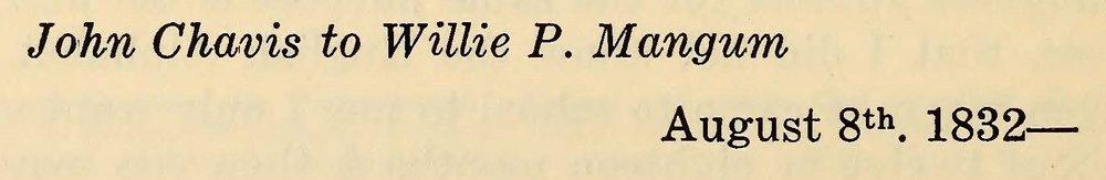 Chavis, John, August 8, 1832 Letter to Willie P. Mangum Title Page.jpg