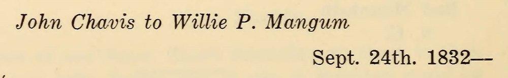 Chavis, John, September 24, 1832 Letter to Willie P. Mangum Title Page.jpg