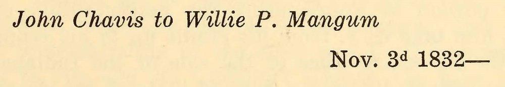 Chavis, John, November 3, 1832 Letter to Willie P. Mangum Title Page.jpg