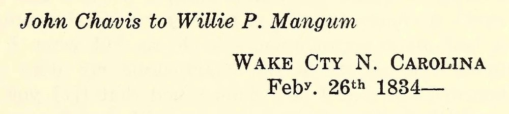 Chavis, John, February 26, 1834 Letter to Willie P. Mangum Title Page.jpg