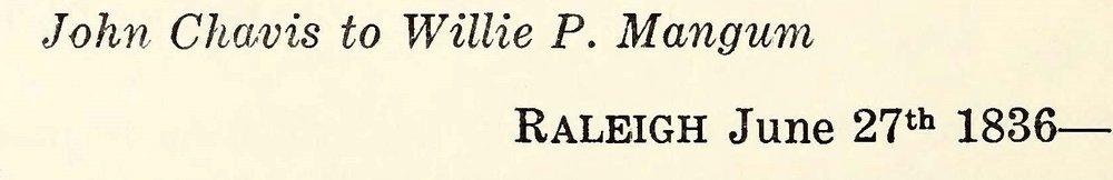 Chavis, John, June 27, 1836 Letter to Willie P. Mangum Title Page.jpg