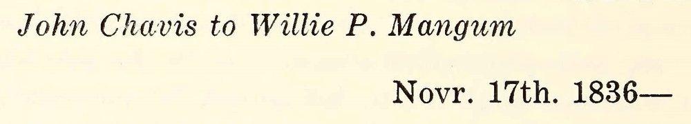 Chavis, John, November 17, 1836 Letter to Willie P. Mangum Title Page.jpg