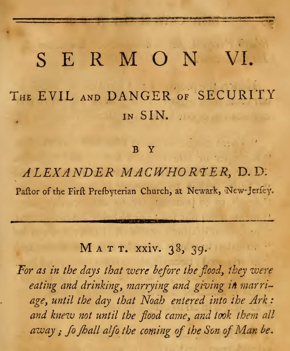 MacWhorter, Alexander, The Evil and Danger of Security in Sin Title Page.jpg