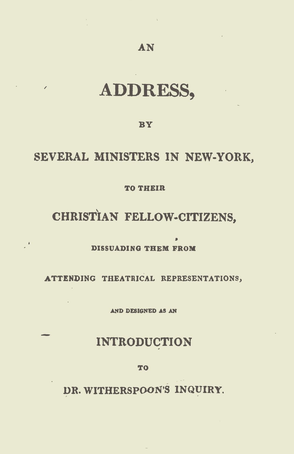 Spring, Gardiner, An Address on Theatrical Representations Title Page.jpg