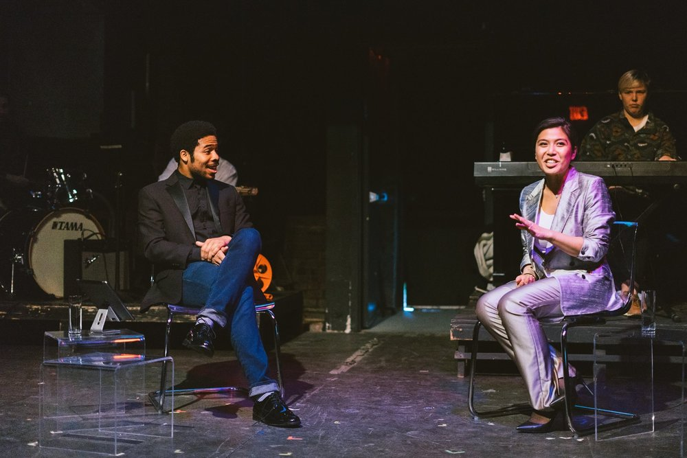 "brunch theatre bts // Darien LaBeach (left) & Carolina Do (right) in ""Jimmy and the Doctor"""