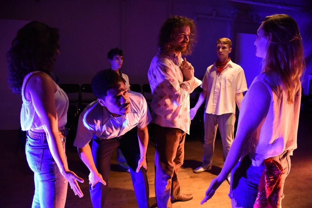 """(left to right) Ashley Morgan Bloom, Darien LaBeach, Nicole Orabona, Carson Coughlin, Alexander Settineri in """"The Untold Yippie Project"""""""