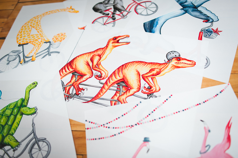 trex-riding-bicycles-illustration