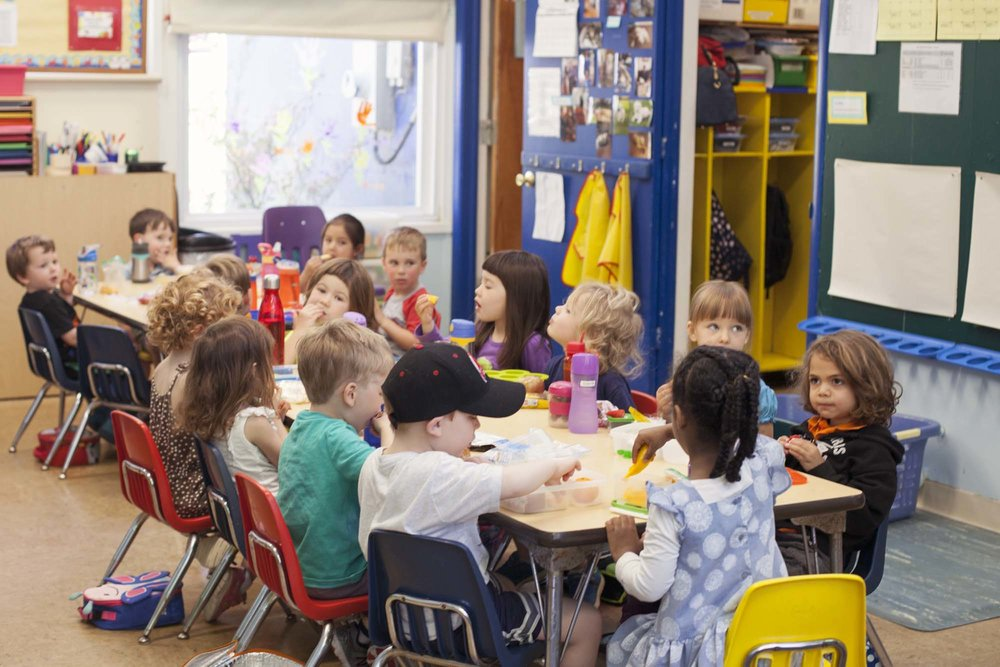 "CLASSES - The KNS curriculum is play-based and includes developmentally appropriate and thematically based activities. Daily planning includes opportunities for small and large group, active and quiet, and indoor and outdoor activities. Children are encouraged to make choices. Physical, cognitive, sensory and emotional skills are developed through opportunities for play, experimentation and exploration in classroom ""centers."""