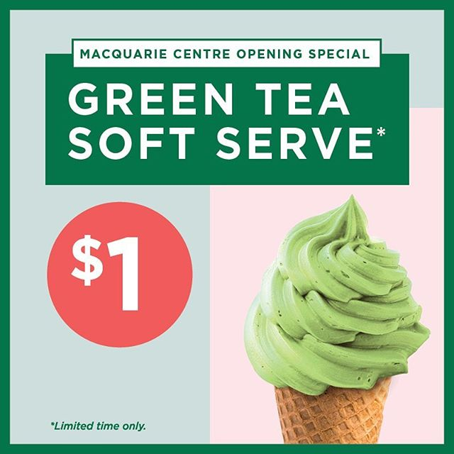You've been told to brace for a heatwave Sydney, so arm yourself with a delicious green tea soft serve for only $1. Yes, $1. Hurry, available at @macquariecentre only and ends Dec 24.  #summer #icecream #green