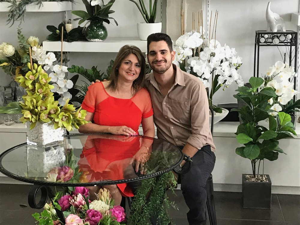 Anna Gianoulis owner of Malpara Florist and her son Matthew.