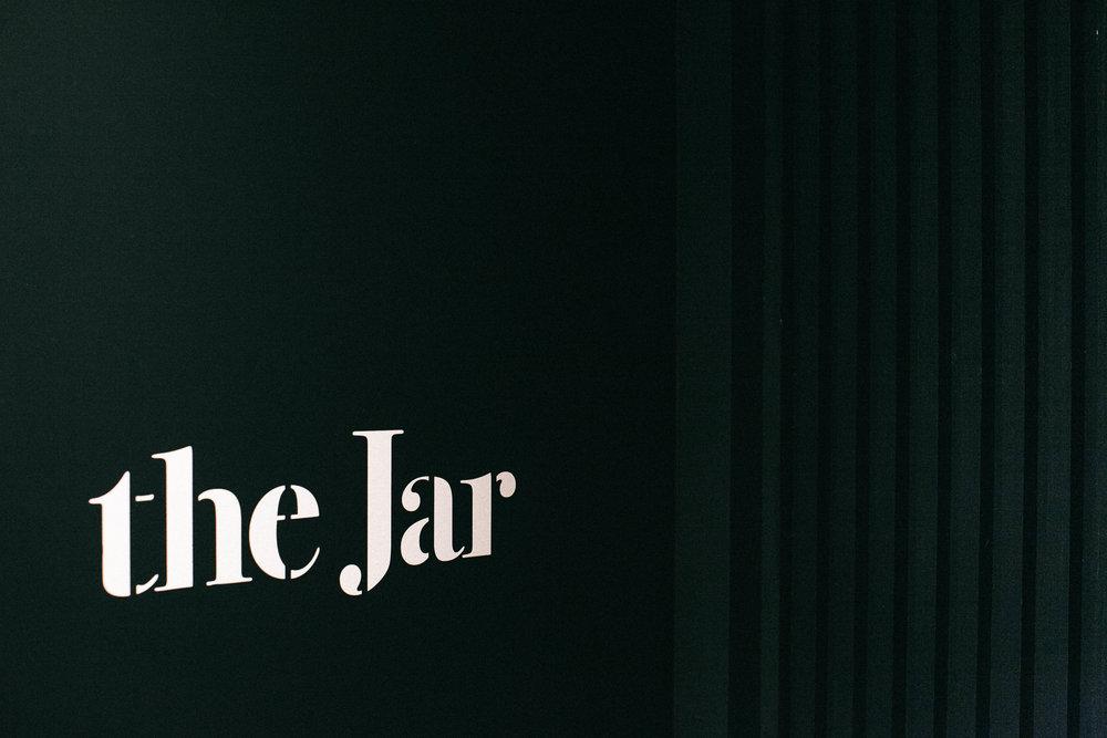 Branding signage design for The Jar, by brennan & stevens