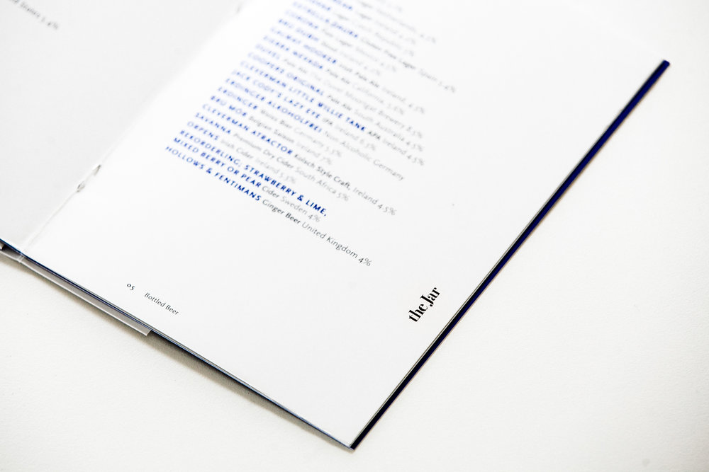 Menu design for The Jar, by brennan & stevens