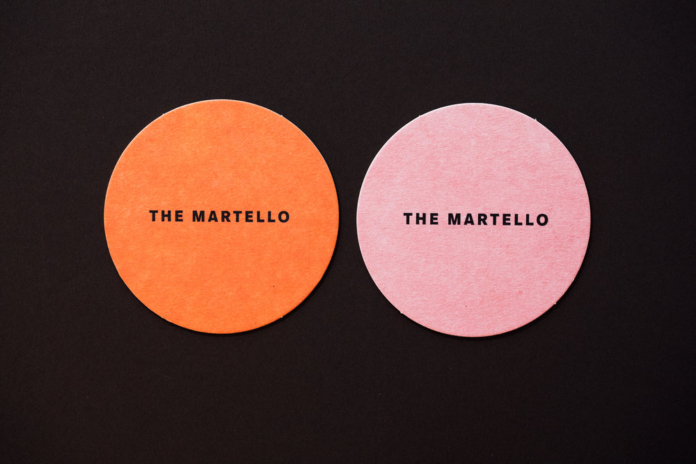 Beer mat design for The Martello, by brennan & stevens
