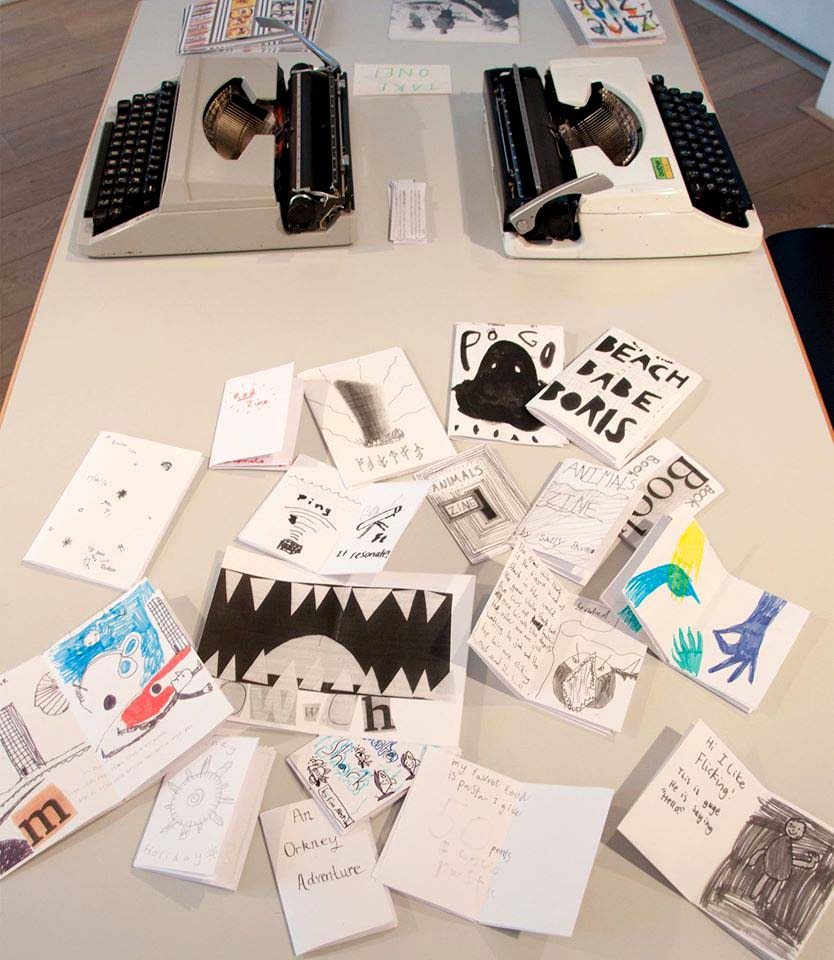 ZINE STUDIO - Hosting a self publishing workshop for adults at Pier Arts Centre, Orkney
