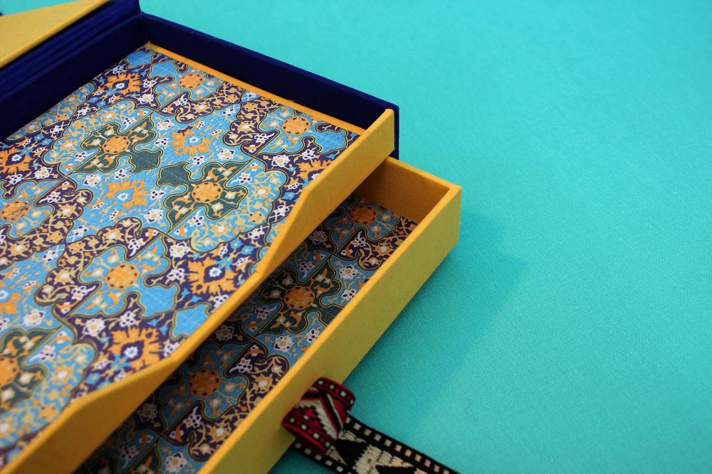 DRAWER BOX - Drawers can be incorporated into a dropback box, or a box can be made to house an object alone.