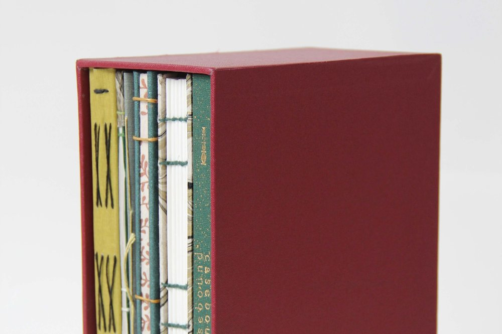 SLIPCASE - A slipcase is a sleek box option that has one side open, leaving the spine of the book, or books, visible. Foiling is possible on either the spine or sides.