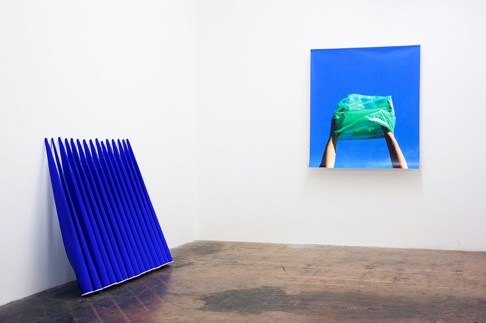 Installation view: Slip-cast earthenware sculptures, acrylic paint, wallpaper, acrylic sheet, dimensions variable
