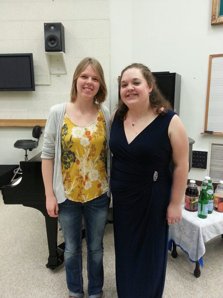 "With oboist Rachel Van Amburgh after the premiere of ""Four Creatures of the Middle Ages"" for solo oboe at the USC Thornton School of Music."
