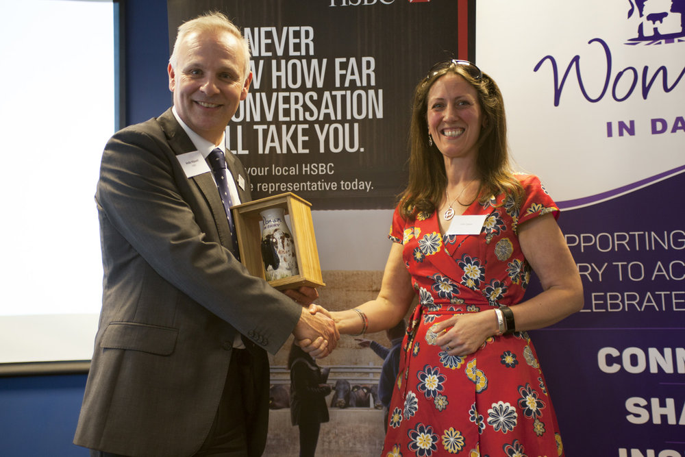 Andy Hipwell, HSBC, presenting Dr Jude Capper with the Industry Woman of the Year Award
