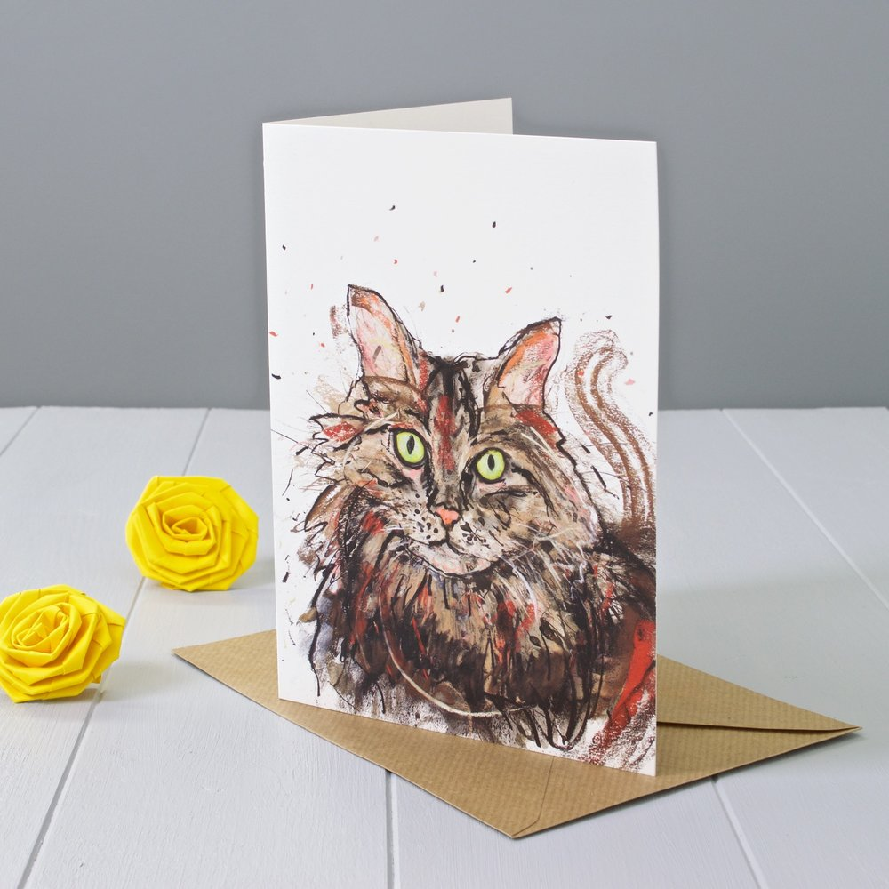 Yellow Rose Design Gallery | Cat animal art greeting card designed by Faisal Khouja