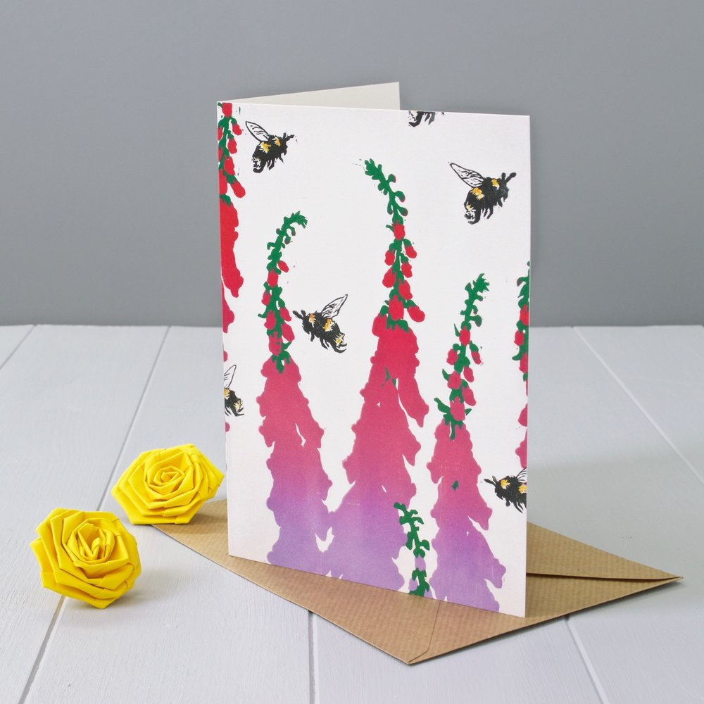 Yellow Rose Design Gallery | Foxgloves and bees Linocut relief print art greeting card designed by Faisal Khouja and published by Yellow Rose Design.