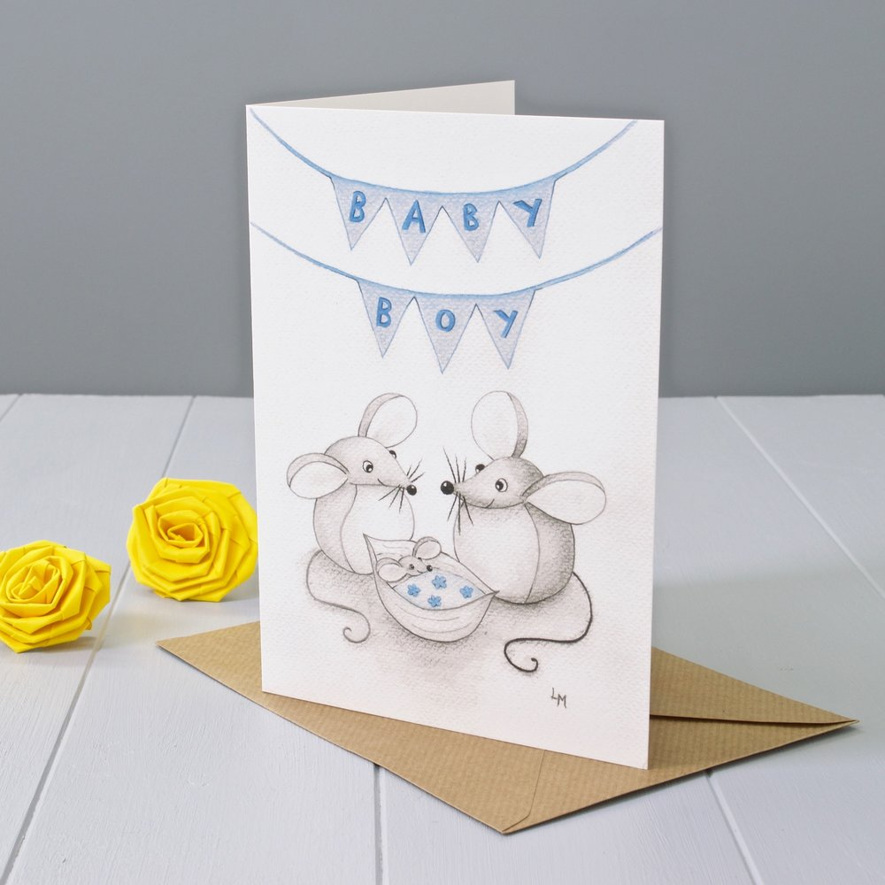 Yellow Rose Design Gallery | Baby Boy Greeting card based on Bilberry Woods storybook characters Mika and Marie by Laura Mirjami and published by Yellow Rose Design.