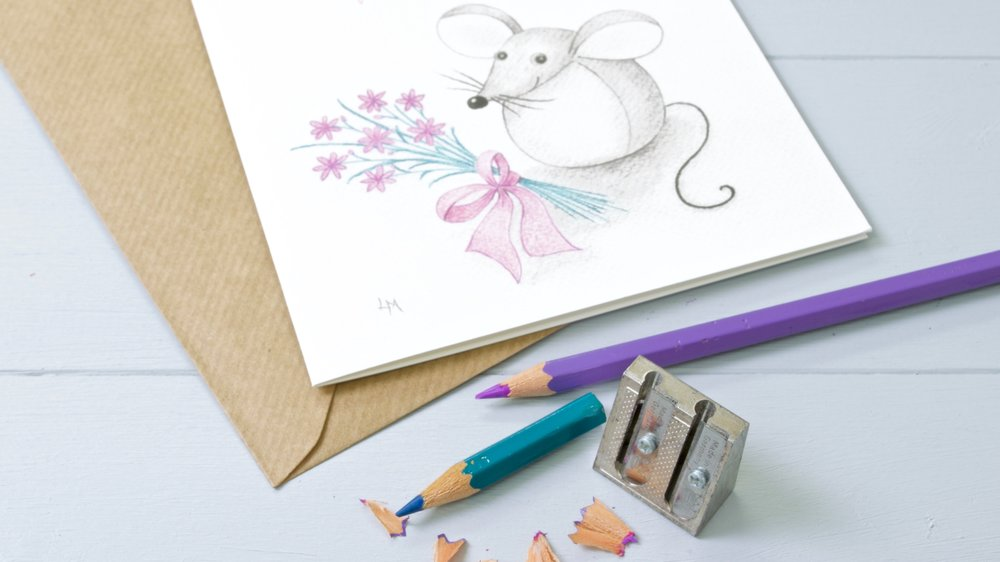 Yellow Rose Design Gallery | Bilberry Woods characters colour pencil art greeting cards by Laura Mirjami