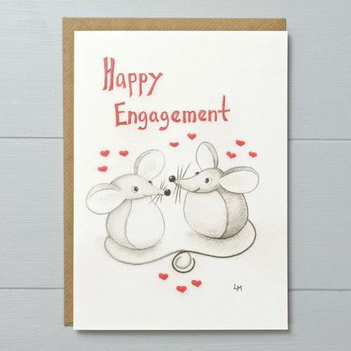 Engagement mouse greeting card yellow rose design engagement mouse greeting card m4hsunfo
