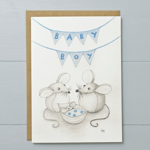 New baby boy mouse greeting card yellow rose design new baby boy mouse greeting card m4hsunfo