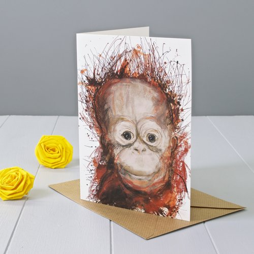 Greeting cards yellow rose design expressive orangutan animal art greeting card by faisal khouja and published by yellow rose design m4hsunfo