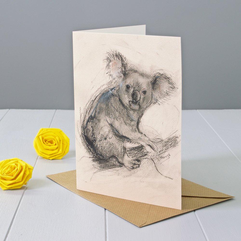 Koala Expressive Animal Greeting Card Yellow Rose Design