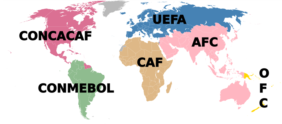 - AFC– Asian Football ConfederationCAF– Confédération Africaine de FootballCONCACAF– Confederation of North, Central American and Caribbean Association FootballCONMEBOL– Confederación Sudamericana de FútbolOFC– Oceania Football Confederation in OceaniaUEFA– Union of European Football Associations