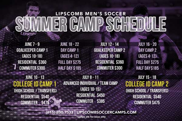 Lipscomb Univeristy - Lipscomb Men's Soccer Team is hosting a variety of boys' soccer camps throughout the summer for different age groups, levels, and positions. Click on the image for more information!