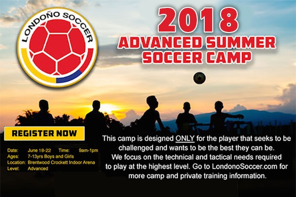 Londoño Soccer - Londoño Soccer is offering a June camp for boys and girls aged 7 to 13. All skill levels are welcome and there are team rates available for groups of 5 or more. Click on the image for more information!