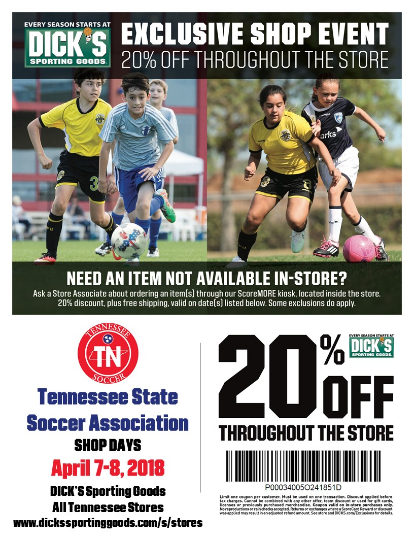 e1657ef1ecb Exclusive 20% off Throughout Dicks Sporting Goods Store — Tennessee State  Soccer Association