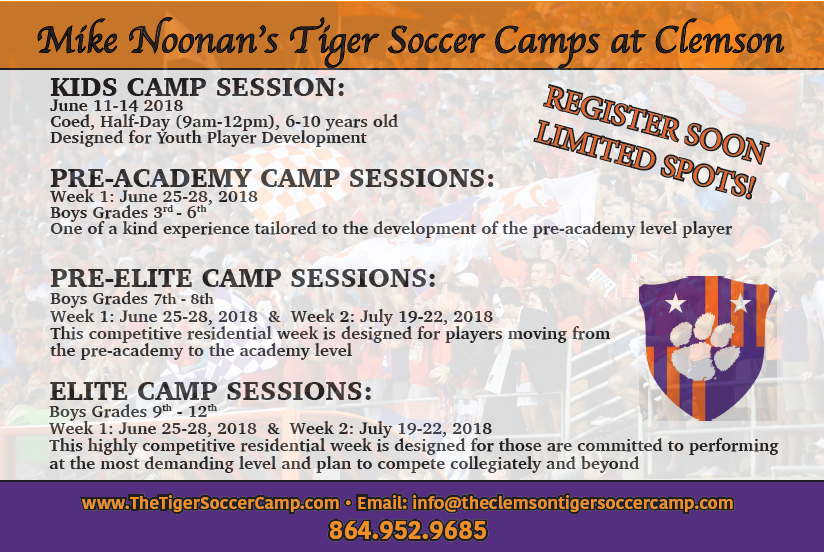 Clemson University - The Clemson University Men's Soccer Team is hosting a variety of soccer camps for boys throughout the summer. Camps are available to a variety of age and skill levels and give players the ability to experience playing at the collegiate level. Click on the image for more information!