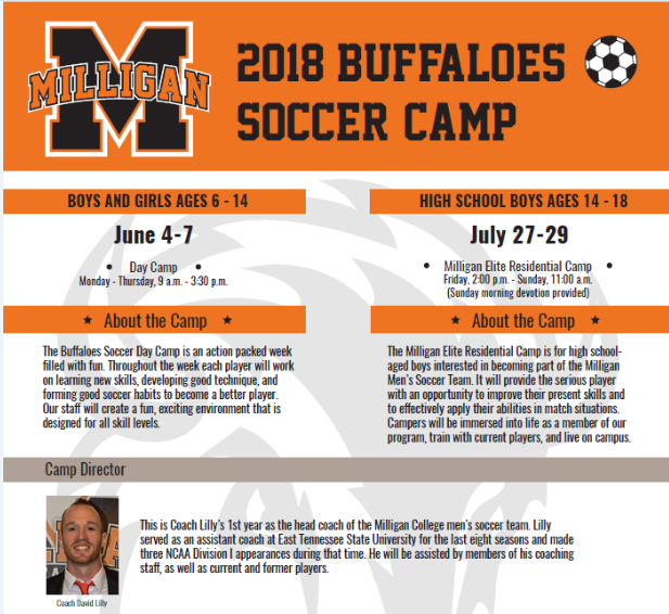 Milligan College - The Milligan College Buffaloes are offering summer camps for boys and girls of various ages. These camps focus on improving skills, techniques, and soccer habits to become a better overall player. Additionally, the high school boys' camp is aimed at players who are interested in playing at Milligan College. Click on the image for more information!