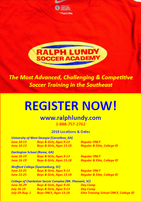 Ralph Lundy Soccer Academy - College of Charleston's Men's Soccer Coach, Ralph Lundy, is offering several camps throughout the summer. Camps are available to players of all levels, ages 9 to 18, and are available in several locations in Georgia and South Carolina. Click on the image for more information!