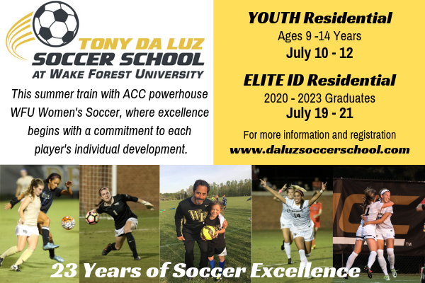 Wake Forest University - The Tony Da Luz Soccer School at Wake Forest University is offering several summer camp opportunities in July. Campers will have the opportunity to improve their technical skills and competition with and elite ACC coaching staff. Click on the image for more information!