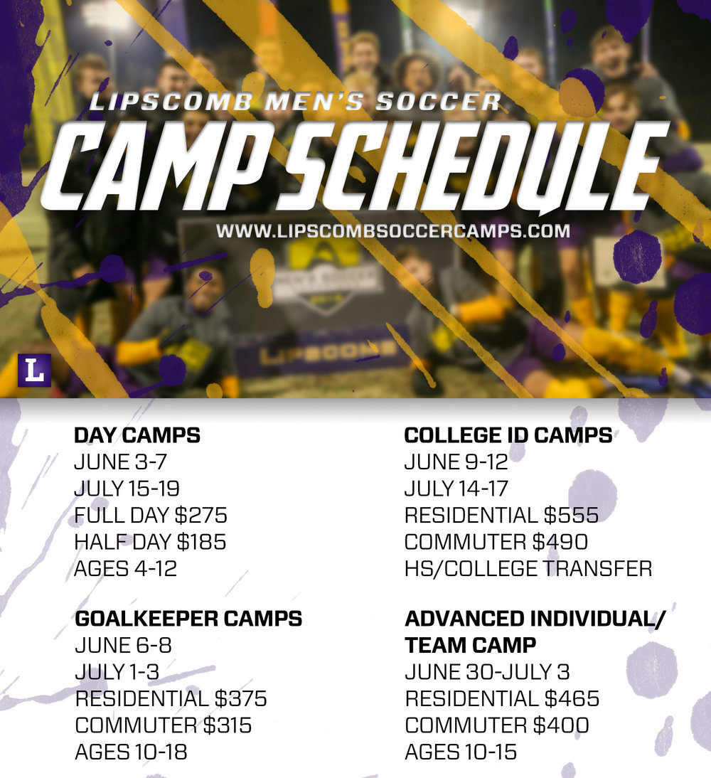 Lipscomb University - The Lipscomb University Men's Soccer team is hosting several youth soccer camps throughout the summer for players of all skill levels. Players will be able to develop their skills and technique in a fun atmosphere with top college coaches. Click on the image for more information!