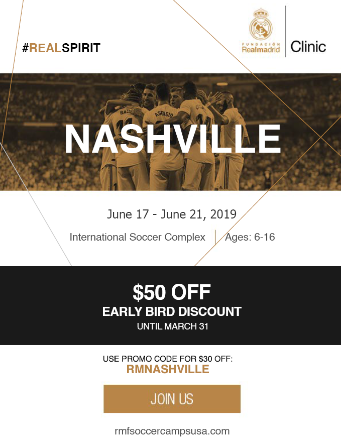 Real Madrid - Real Madrid is hosting a summer camp in Nashville this  year! Players will have the opportunity to train under the Real Madrid Methodology and with official Academy coaches. Additionally, the top players from the camp will have the opportunity to train at the Real Madrid professional training facilities. Click on the image for more information!