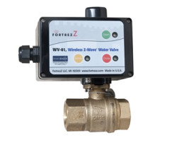 FortrezZ Wireless Z-Wave Water Valve    Shut-off water supply to an overflowing sink or toilet before too much damage is done  Combine with the (sensor) to shut-off water to your dishwasher or washing machine in an emergency  Use on the main water supply to your vacation home so you can prevent disasters when you're far away