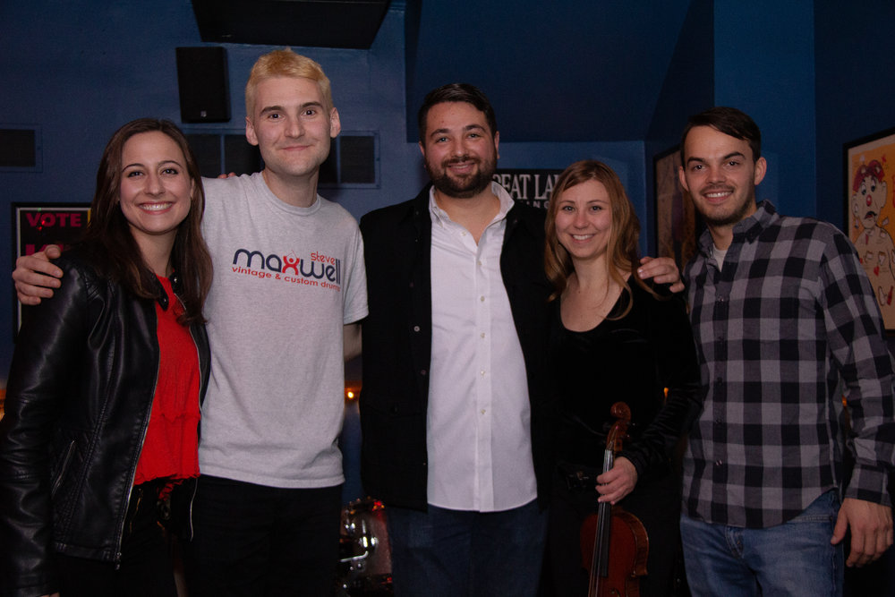 The band from my December 12 EP Release Party. From right to left: Sara Shimmel, Eric Metzgar, Chris Bethmann, Chelsea Hill, Scott Kwiatek.