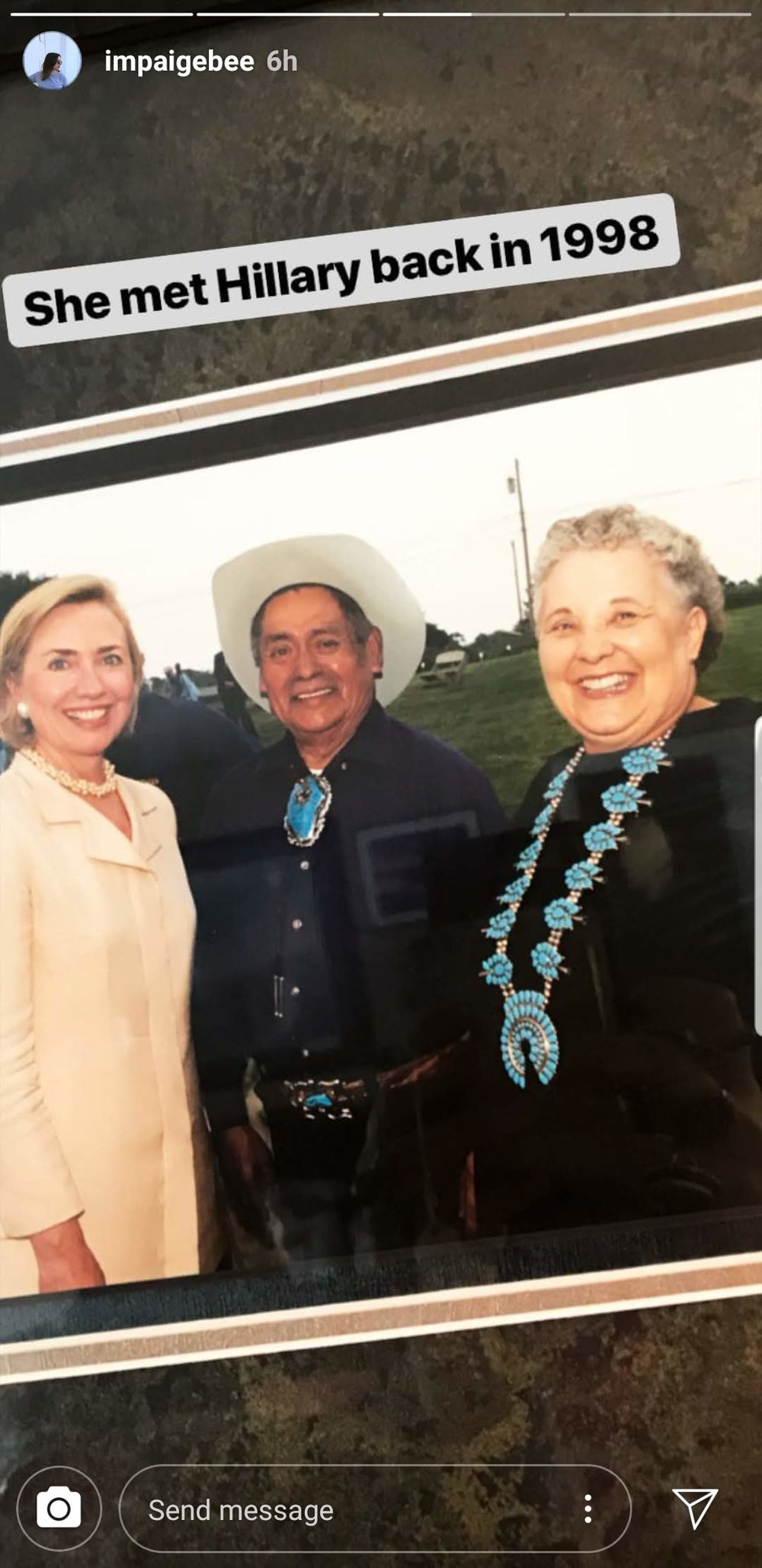 My grandma, Barbara Bethmann Mahooty, my step-grandfather, Chester B. Mahooty with Hillary Clinton at Ganondagan State Historic Site, Victor, NY 1998.