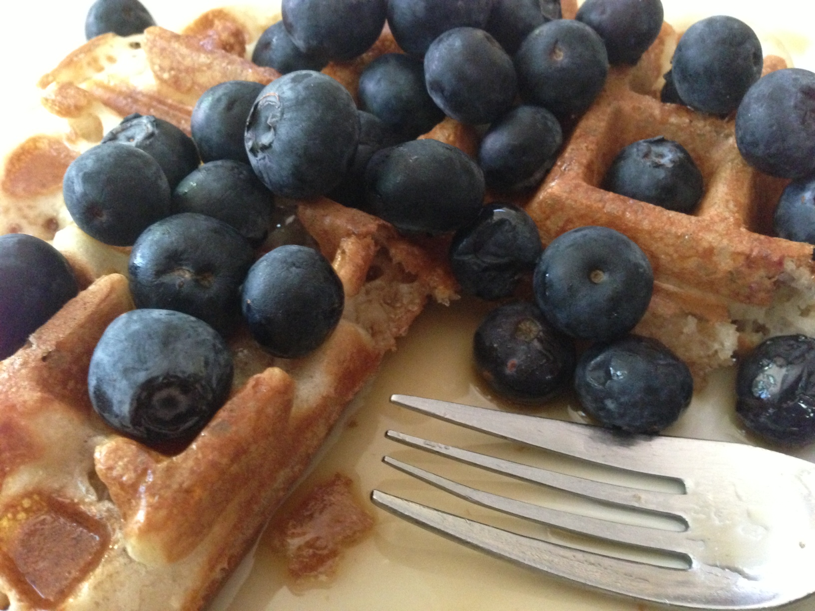 Home made waffle with fresh blueberries