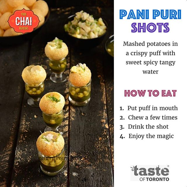 Visit us at the @tasteoftoronto from June 15th till June 18th at Fort York Garrison Common for spice, happiness, tear, flavour and taste all in one pani puri shot. See you there! #panipurishots #tasteoftoronto #thechaihouse #panipuri #golgapas #shots #sweet #tangy #chaiislife #instagood #happymood #happy #friends #smile #food #instafood