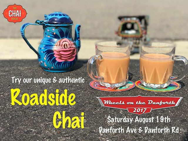 Enjoy a cup of authentic brewed roadside chai this Saturday at Wheels on the Danforth. . . . . . . . . . #chaiislife #chaibae #karakchai #chaiTO #chaitime #chaifix #caffefinefix #wheelsonthedanforth #happy #smile #thechaihouse
